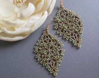 Magic Mint Tatting Earrings, Chandelier lace earrings, Boho earrings, gift for her, tatted jewelry, Statement Bohemia Wedding Earrings,
