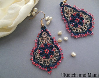 Beige Blue tatting jewelry, lace tatted earrings, lace jewelry, summer  tatting earrings, chandelier earrings,  gift  for girlfriend