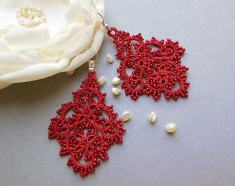 SALE, Red  tatting  lace earrings, tatted lace jewelry, tatted earrings, red lace jewelry, victorian jewelry, stylish jewelry. gift for her