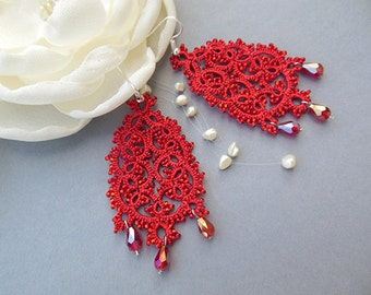 SALE, Red tatting lace earrings, big drop earrings, beaded tatted jewelry,chandelier lace earrings, gift for her, gift for women