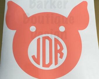 Pig Face Monogram Decal