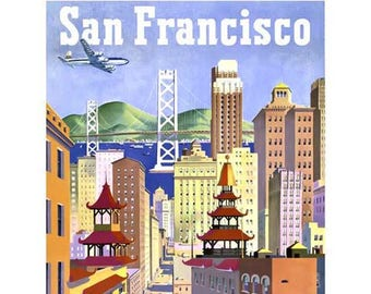 San Francisco Travel Poster - Vintage Travel Print Art - Home Decor - Chinatown Poster Art - Cable Car Trolley