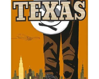 Texas Travel Poster - Vintage Braniff Travel Print Art - Home Decor - Cowboy Boots Art