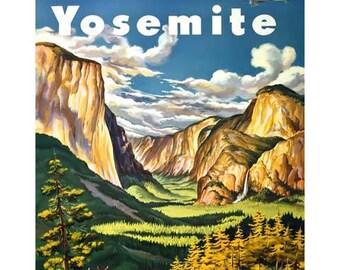 Yosemite Travel Poster - Yosemite National Park - Vintage Travel Print Art - Home Decor - Hotel Art Restaurant Art