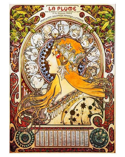 Mucha Art Print La Plume Zodiac Print Home Decor Astrology