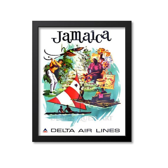 Jamaica Travel Poster Vintage Travel Print Art Home Decor Etsy