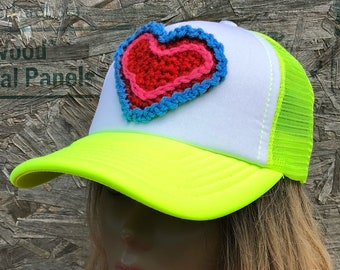 Trucker hat, womens trucker hat, crochet hat, womens baseball cap, womens baseball hat, heart hat, ooak hat, unique womens hat, boho hat