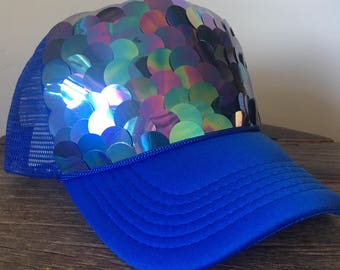 675a2bb64a3 Womens blue sequin trucker hat