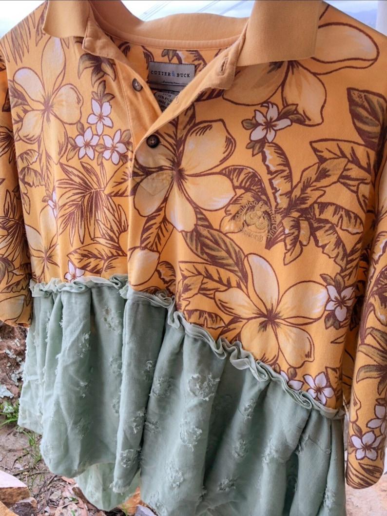 womens shirts hawaiian print shirt upcycled shirt upcycled top boho shirt Womens polo top oversized shirt upcycled polo peplum top