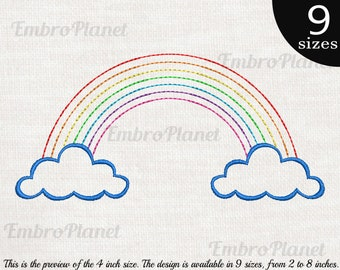 46c3483ec Outline Rainbow - Design for Embroidery Machine Instant Download digital  file stitch sign icon pattern cartoon symbol cute colorful 1130e