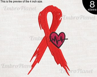 Heart Ribbon Design for Embroidery Machine Instant Download digital file stitch sign icon symbol cartoon because no one fight alone 1345e