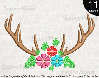 9083a749a2547 Antlers Flowers - Design for Embroidery Machine Instant Download digital  file satin stitch icon symbol cartoon xmas cute deer reindeer 386e