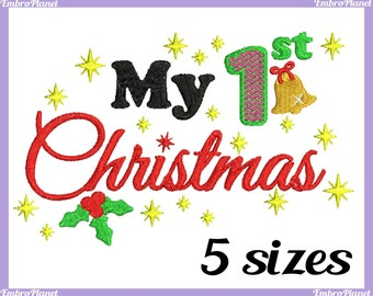 My 1st Christmas - Design for Embroidery Machine Instant Download Digital Graphic Full Stitch 4x4 5x7 inch hoop - xmas Christmas File 393e
