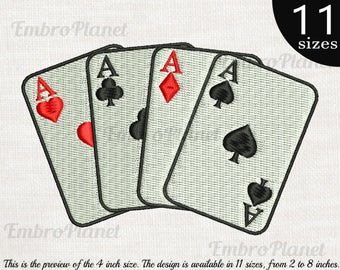 Hand of Aces - Designs for Embroidery Machine Digital Graphic Filled File Instant Download Commercial Use heart diamonds spades poker 130e