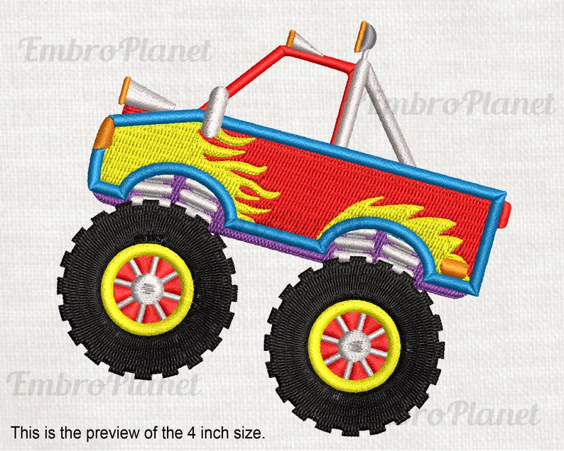 Monster Truck - Design for Embroidery Machine Instant Download digital file  Commercial Use stitch stitching cartoon tire big vehicle 572e