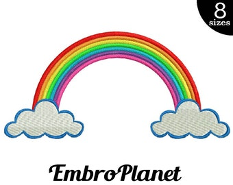 Rainbow - Design for Embroidery Machine Instant Download Digital File Graphic Stitch 4x4 5x7 inch hoop colorful rain sky colorful color 540e
