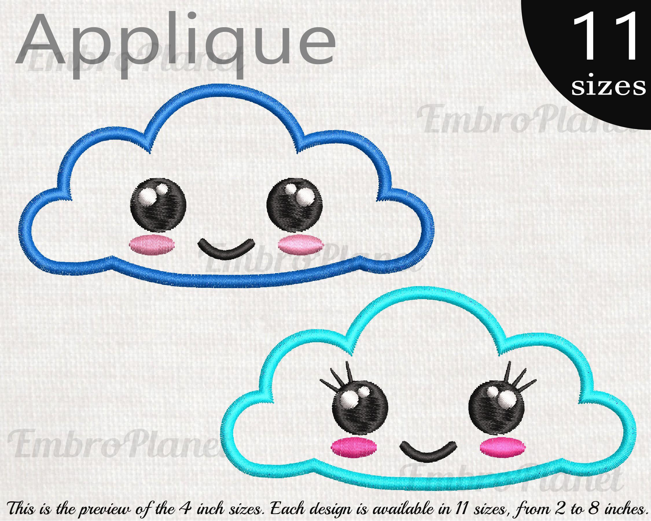 Apliques Cute Kawaii nubes diseños para bordado máquina | Etsy
