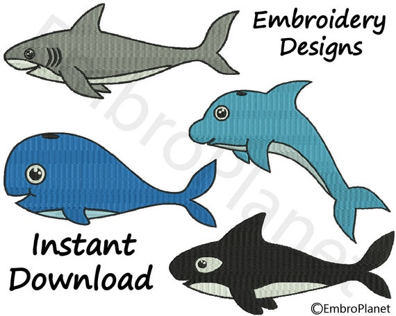 4x4 MACHINE EMBROIDERY DESIGNS OCEAN MAMMALS//ANIMALS