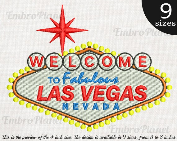 Las Vegas Sign Design For Embroidery Machine Instant Etsy