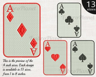 Poker Aces Cards - Designs for Embroidery Machine Digital Graphic File Stitch Instant Download Commercial Use heart diamonds spades 129e