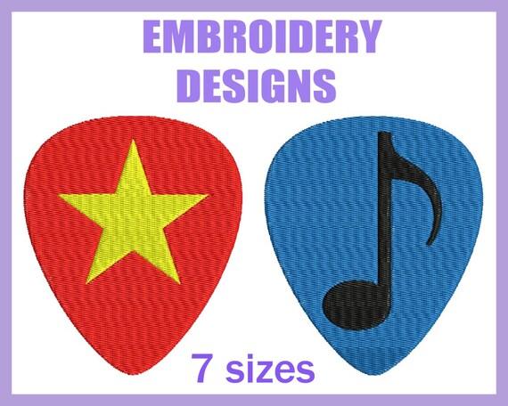 guitar picks designs for embroidery machine digital graphic etsy. Black Bedroom Furniture Sets. Home Design Ideas