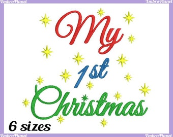 My 1st Christmas - Design for Embroidery Machine Instant Download Digital Graphic Full Stitch 4x4 5x7 inch hoop - xmas Christmas File 392e