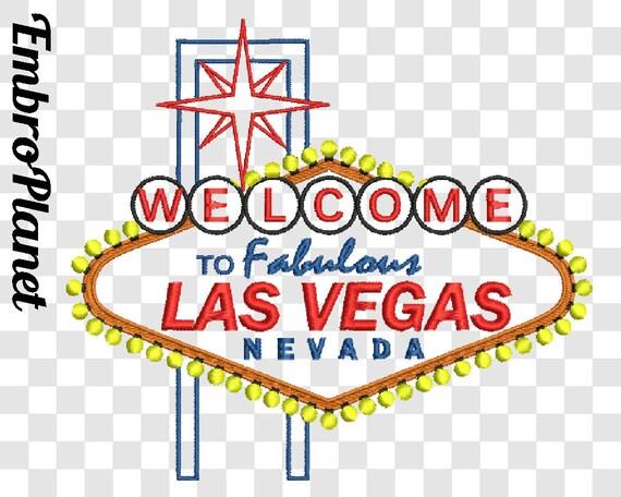 Outline Las Vegas Sign Design For Embroidery Machine Digital Etsy
