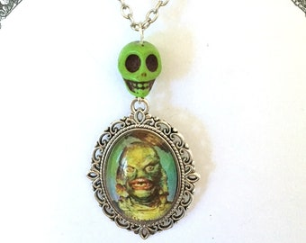 Green Creature from the Black Lagoon psychobilly skull charm Necklace: vintage-inspired glass cabochon pendant
