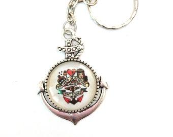 Rockabilly key: tattoo Sailor Jerry pin up, glass cabochon