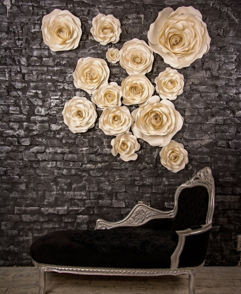 Set Of 14 Paper Roses Paper Flower Wedding Arch Wedding Backdrop Large Paper Flower Wedding Photo Prop Alternative Arch
