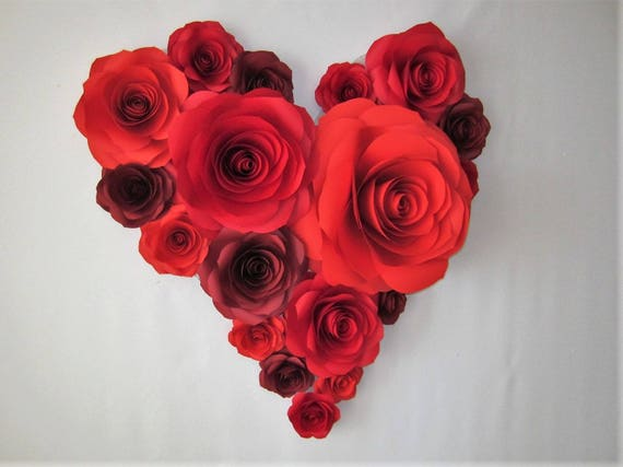 Valentines Day Decor Heart Of Large Paper Flowers Etsy
