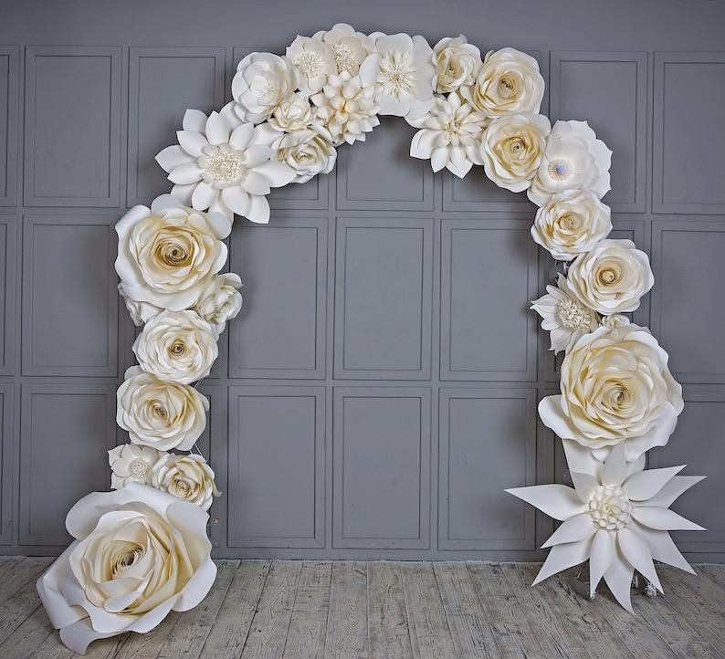Wedding Arch Paper Flowers Wedding Venue Decoration White Paper Flower Arch Wedding Backdrop Large Paper Flowers