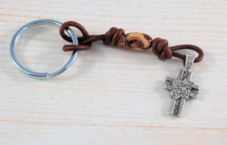 Leather Brown Cord 8x12mm Decorative Wood Accent Bead Peace Lily Cross Keyholder