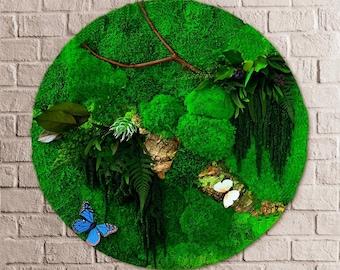 Round Moss Art, Preserved Moss Art, Moss Wall, Circular Living wall, Plant Wall, interior green wall, Circular Moss Wall, Moss Circle,