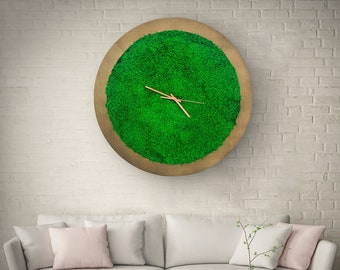 Large wooden wall clock, Oversized wooden Clock, Moss wall Clock, Wooden Moss Clock, Wall Clock, Moss Clock, Rustic Clock, Wooden/mdf Clock,