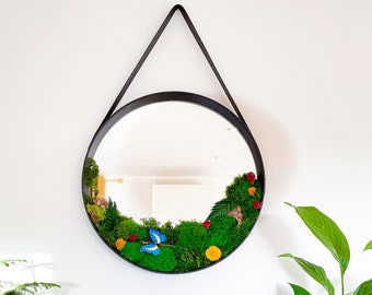 Leather Strap Wooden Wall Round Hanging Decorative Moss Vanity Mirror, Moss Wall, Moss Art, Black round mirror, Preserved Moss Art, Mirror,