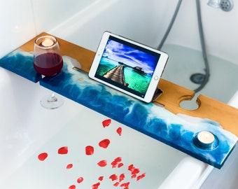 Bath Tray, Wood Bathtub Tray, Bath Shelf, Wedding gift, Bath Plank, Bath Board, Bath Caddy, Christmas gift for her, Resin Bath Rack,