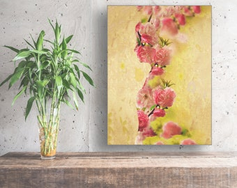 Pink Wall Art, Large Ready to hang Stretched Canvas wall art, Abstract art print, Home Decor, Floral Wall Art, Floral Wall Decor, Flower art