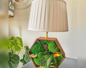 Table Lamp | Wood Table Lamp | Bedside Lamp | Wooden Bedside Lamp | Night Light | Decorative Moss Lamp | Table Light | Wood Lamp | Moss Lamp