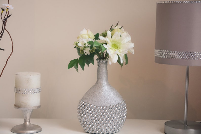 Etsy & Handmade Flower vase Silver color vase Wine bottle vase altered bottle vase Home decor