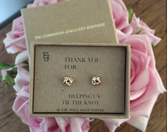 """Rose Gold Plated """"Tie the Knot"""" Studs"""