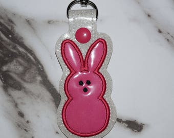 Pink Easter Marshmallow Bunny Keychain