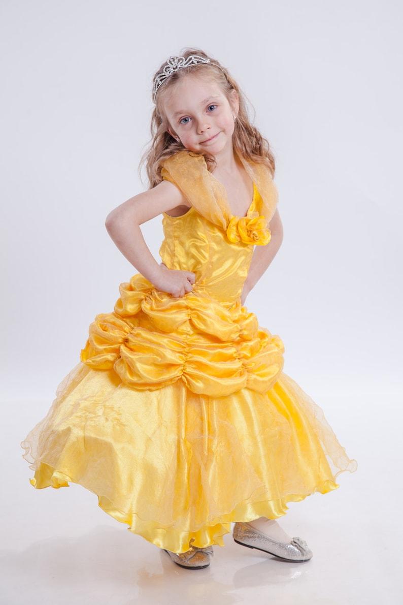 Belle Dress, Bell Costume, Girls Yellow Dress, Girls Disney Outfit, Yellow  Party Dress, Girls Wedding Dress, Formal Dress, Belle Gown