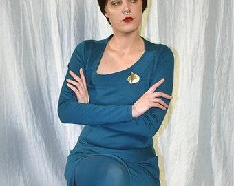 Deanna Troi Slit Dress from Star Trek: The Next Generation, Deanna Troi Cosplay Dress; Star Trek Cosplay costume