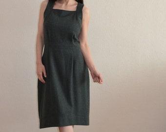 Kaschmir-Trägerkleid, Herbst, Winter-Kleid, Ballonkleid, offenem Rücken Trägerkleid, asymmetrische, MIDI-Kleid, Frau Trägerkleid