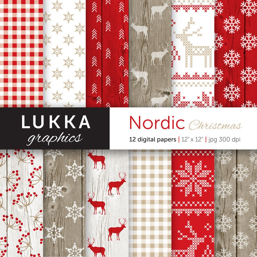 Nordic Christmas digital paper pack Scandinavian Christmas | Etsy
