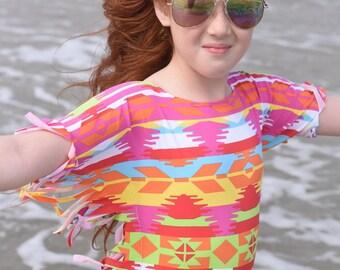 Girls Boho Fringe Style SwimDress