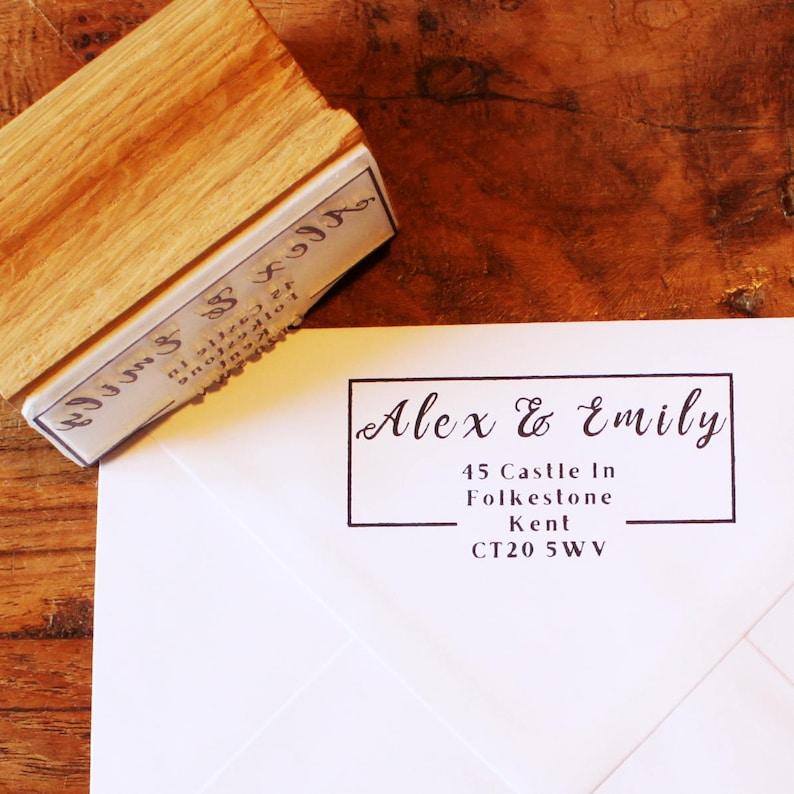 Holiday Cards Personalised Elegant Script Address Stamp for DIY Wedding Invitation Custom Handmade Typography art Stamp for Letter Writing
