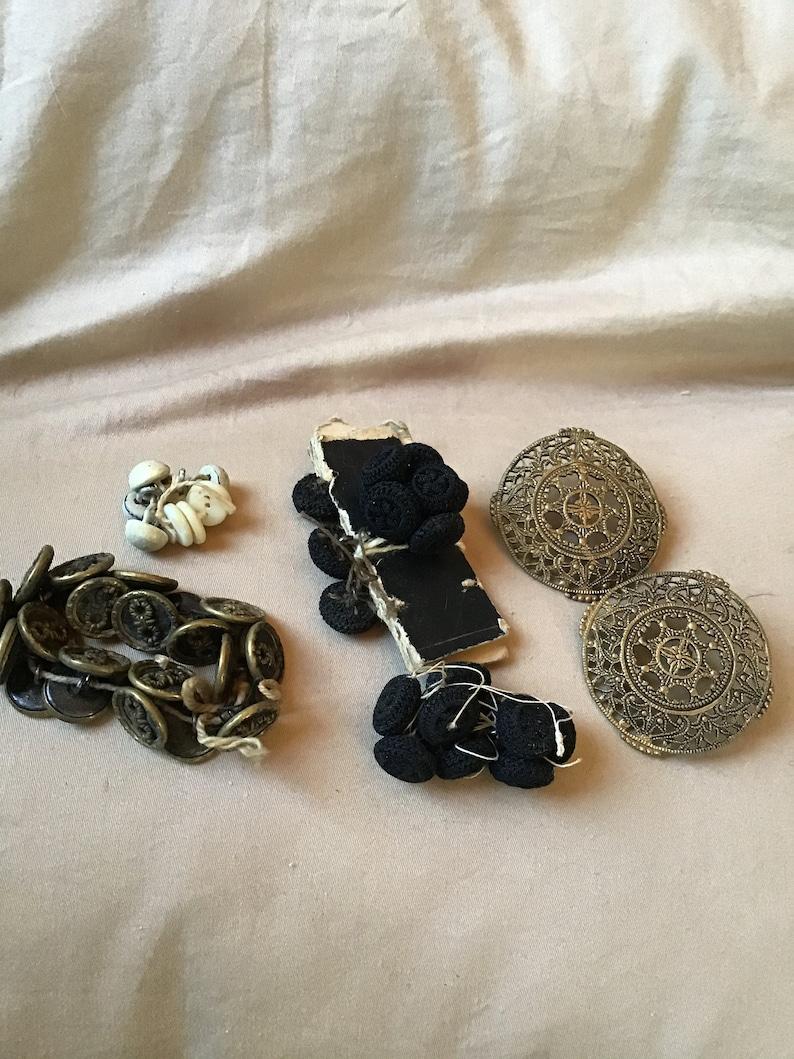 shoe blouse SALE antique sewing Lot of 50 Antique Buttons crochet estate clothing dress sets brass