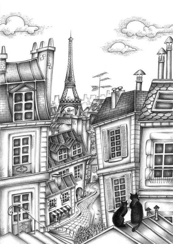 black cat Map  postcard drawing with black ink ballpoint pen Paris roofs Eiffel Tower Black and white illustration